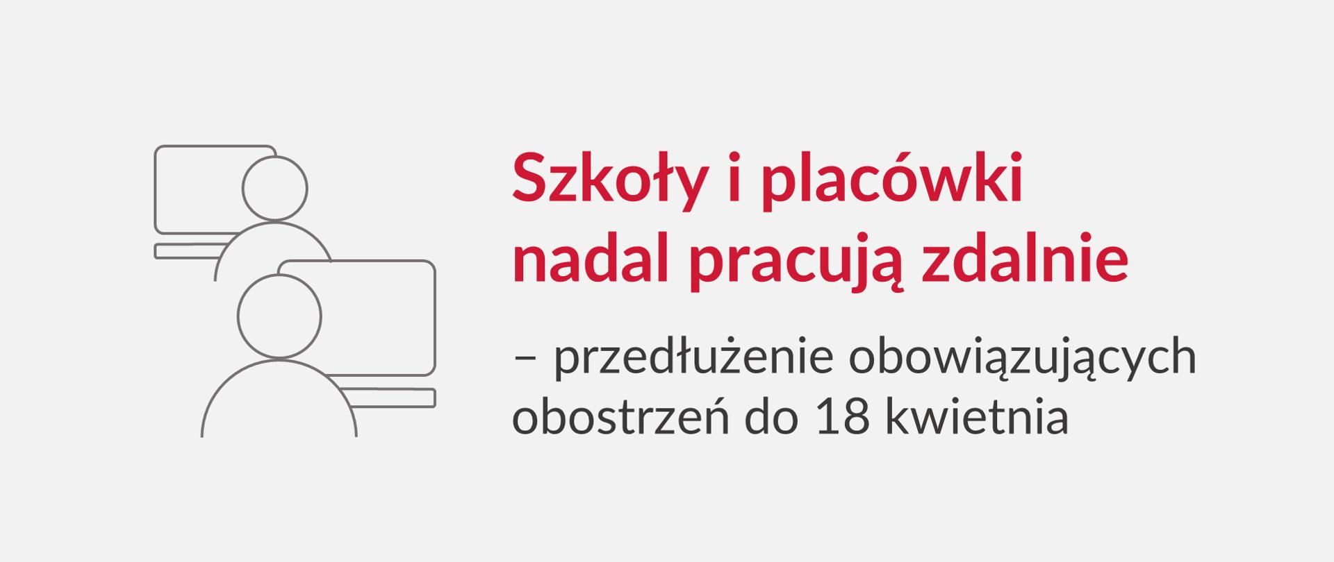 Grafika z tekstem: 'Szkoły i placówki nadal pracują zdalnie – przedłużenie obowiązujących obostrzeń do 18 kwietnia'