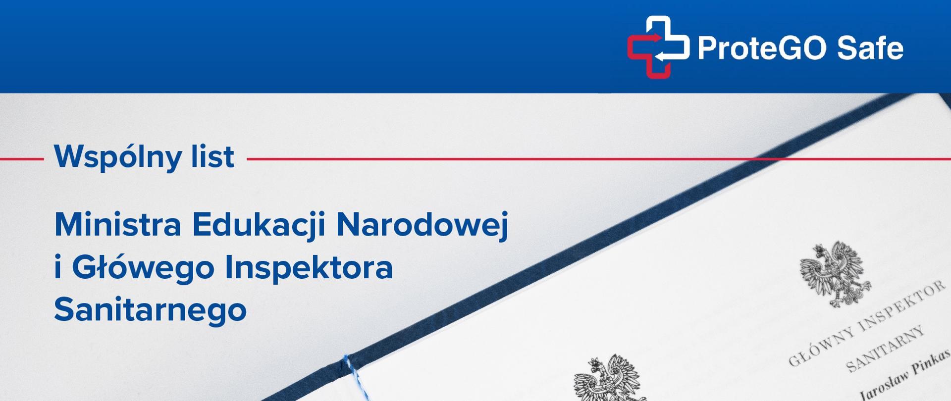 Grafika z tekstem 'ProteGO Safe. Wspólny list Ministra Edukacji Narodowej i Głównego Inspektora Sanitarnego'