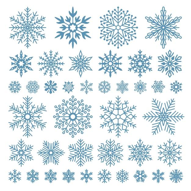Płaskie Płatki śniegu. Zimowe Kryształy śnieżynki, świąteczne Kształty  śniegu IMatowe Chłód | Premium Wektor
